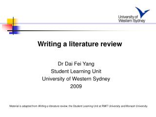 Dr Dai Fei Yang Student Learning Unit University of Western Sydney 2009