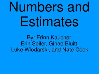 Numbers and Estimates