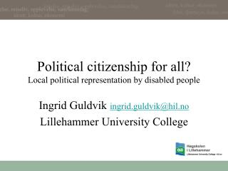 Political citizenship for all Local political representation by disabled people