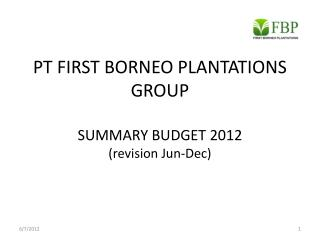 PT FIRST BORNEO PLANTATIONS GROUP SUMMARY BUDGET 201 2  (revision Jun-Dec)