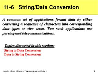 11-6   String/Data Conversion