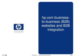 Hp business-to-business B2B websites and B2B integration