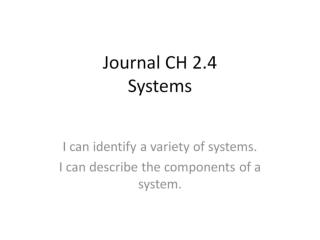 Journal CH 2.4 Systems