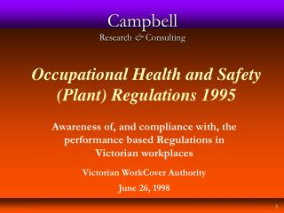Occupational Health and Safety (Plant) Regulations 1995