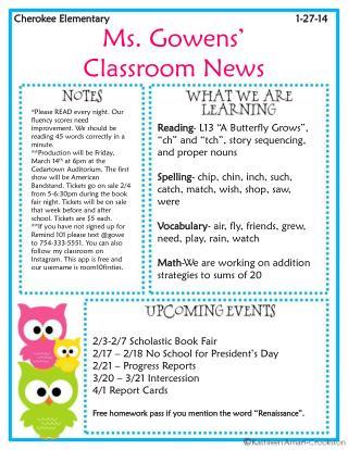 Ms. Gowens' Classroom News