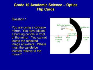 Grade 10 Academic Science – Optics Flip Cards