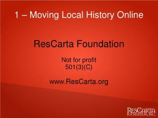 1 – Moving Local History Online