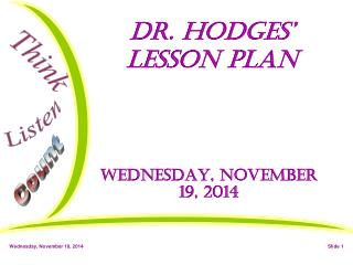 Dr. Hodges' Lesson Plan