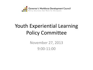 Youth Experiential Learning  Policy Committee