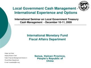 Local Government Cash Management   International Experience and Options    International Seminar on Local Government Tre