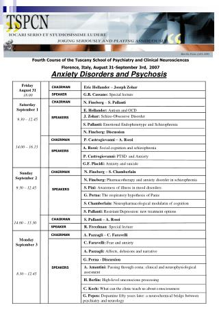Fourth Course of the Tuscany School of Psychiatry and Clinical Neurosciences Florence, Italy, August 31-September 3rd,