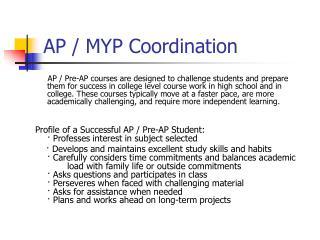 AP / MYP Coordination