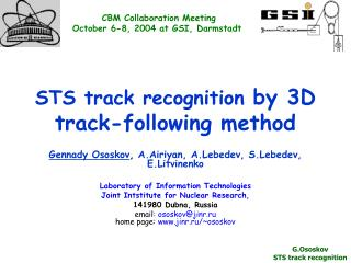 STS track recognition  by 3D track-following method