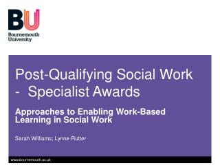 Post-Qualifying Social Work -  Specialist Awards