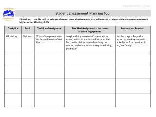 Student Engagement Planning Tool