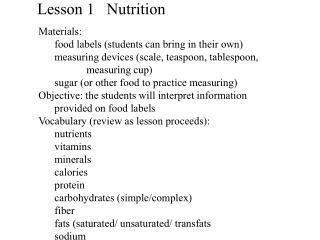 Lesson 1   Nutrition