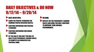 Daily Objectives & Do now 9/17/14 – 9/20/14