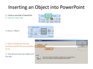 Inserting  an  Object into PowerPoint
