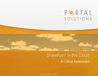 SharePoint in the  Cloud