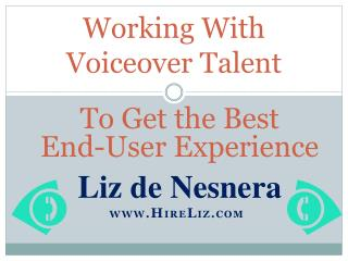 Working With Voiceover Talent