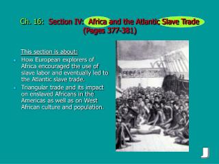 Ch. 16:   Section IV:  Africa and the Atlantic Slave Trade  (Pages 377-381)