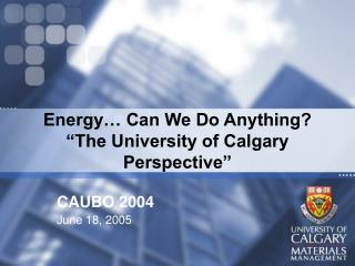 Energy� Can We Do Anything? �The University of Calgary Perspective�