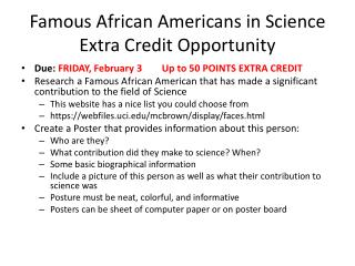 Famous African Americans in Science Extra Credit Opportunity