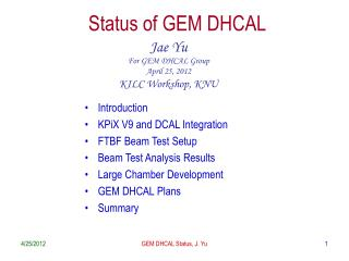 Status of GEM DHCAL
