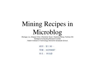 Mining Recipes in Microblog