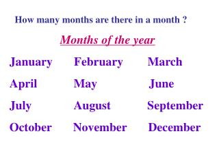 Months of the year January       February        March April            May                 June