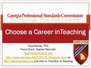 Choose a Career  inTeaching