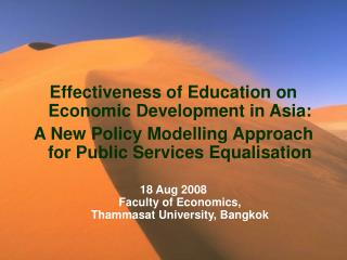 Effectiveness of Education on Economic Development in Asia: