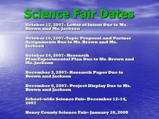 Science Fair Dates