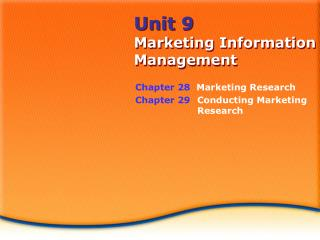 Unit 9 Marketing Information Management
