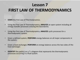Lesson 7 FIRST LAW OF THERMODYNAMICS