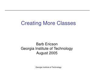 Creating More Classes