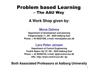 Problem based Learning  – The AAU Way