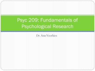 Psyc 209: Fundamentals of Psychological Research
