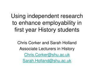 Using independent research to enhance employability in first year History students