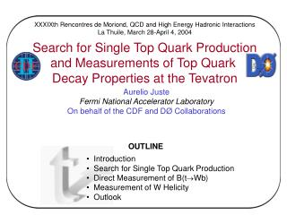 OUTLINE    Introduction   Search for Single Top Quark Production   Direct Measurement of BtWb   Measurement of W Helicit
