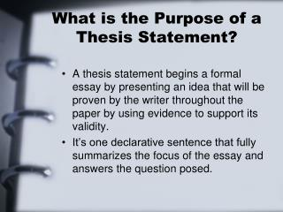 can a thesis statement be posed as a question