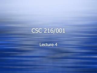 CSC 216/001
