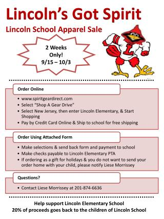 Linco ln's Got Spirit Lincoln School Apparel Sale