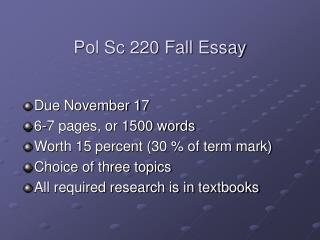 Pol Sc 220 Fall Essay