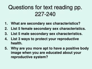 Questions for text reading pp. 227-240