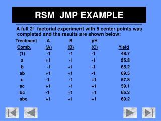 RSM   JMP EXAMPLE