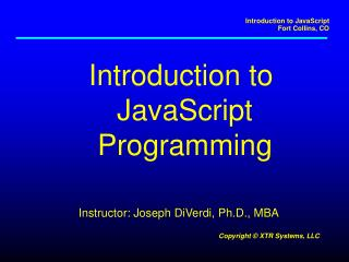 Introduction to  JavaScript Programming