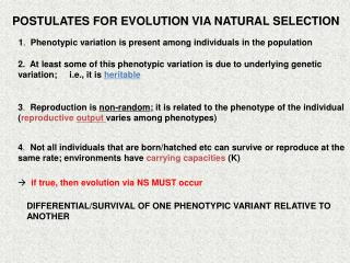 POSTULATES FOR EVOLUTION VIA NATURAL SELECTION