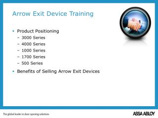 Arrow Exit Device Training