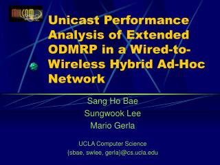 Unicast Performance Analysis of Extended ODMRP in a Wired-to-Wireless Hybrid Ad-Hoc Network